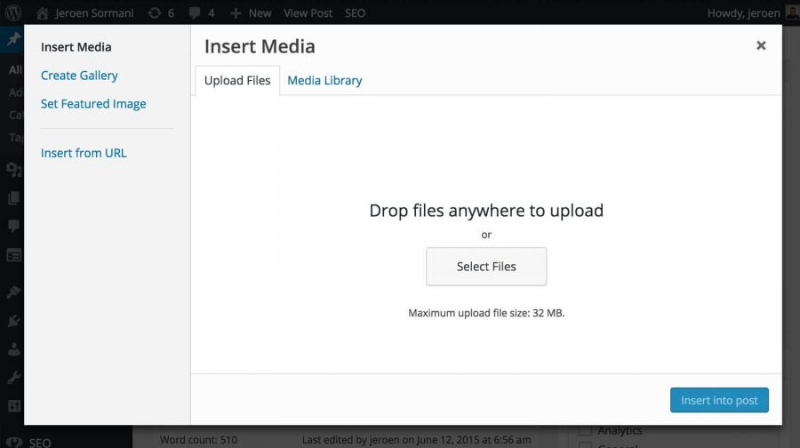 Wordpress upload image file