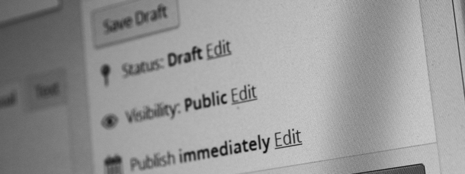 Wordpress website content publish